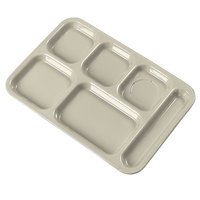 Carlisle 614R25 10 inch x 14 inch Tan ABS Plastic Right Hand 6 Compartment Tray