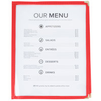 8 1/2 inch x 11 inch Red Two Pocket Menu Cover