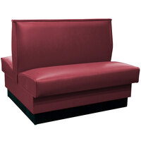 American Tables & Seating QAD-36 Portside Raspberry Plain Double Back Booth 36 inch High - Fully Upholstered Quick Ship