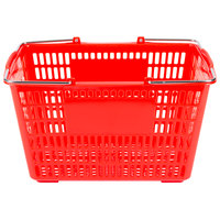 Red 18 3/4 inch x 11 1/2 inch Plastic Grocery Market Shopping Basket