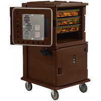 Cambro UPCH16002131 Dark Brown Ultra Camcart Two Compartment Heated Holding Pan Carrier with Casters, Both Compartments Heated - 220V (International Use Only)