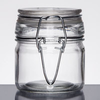 American Metalcraft HMMJ4 4 oz. Glass Miniature Hinged Apothecary Jar - 12 / Case