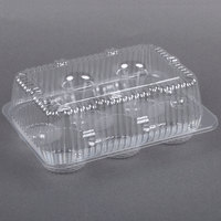 Par-Pak 2020 6-Cup High Top Hinged OPS Plastic Cupcake Container - 10 / Pack