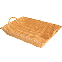 16 inch x 11 inch Hand-Woven Rectangular Plastic Natural Basket with Handles