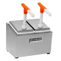 Cecilware 244G Giant Pumps Stainless Steel Condiment Rail with Two Plastic Pumps, Jars, and Covers