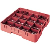 Cambro 16S738163 Camrack 7 3/4 inch High Red 16 Compartment Glass Rack