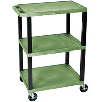Luxor / H. Wilson WT34GS Green 34 inch Three Shelf AV Utility Cart