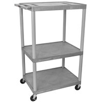 Luxor / H. Wilson LE54-G Gray Endura 54 inch Three Shelf AV Cart with Three Outlets