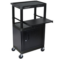 Luxor / H. Wilson LT45C-B 3-Shelf Heavy Duty AV Cart with Steel Locking Cabinet - 15 3/4 inch x 24 inch x 44 1/4 inch