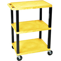 Luxor / H. Wilson WT34YS Yellow 34 inch Three Shelf AV Utility Cart