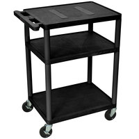 Luxor / H. Wilson LE34-B Black Endura 34 inch Three Shelf AV Cart with Three Outlets