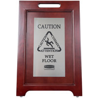 Rubbermaid 1867508 23 1/2 inch 2-Sided Wooden  Stainless Steel Executive Wet Floor Sign