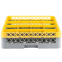 Noble Products 16-Compartment Gray Full-Size Glass Rack with Yellow Extender - 19 3/8 inch x 19 3/8 inch x 5 3/4 inch