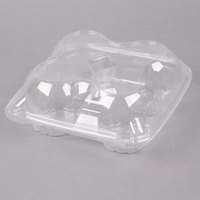 4 Compartment Clear Hinged Dome Muffin Container - 200/Case