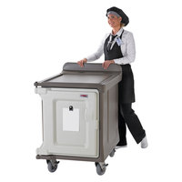 Cambro MDC1520S10HD194 10-Tray Granite Sand Low Profile Meal Delivery Cart with Heavy Duty Casters