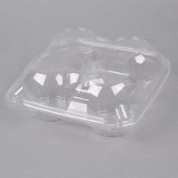 4 Compartment Clear Hinged Dome Muffin Container - 5/Pack