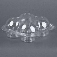4 Compartment Clear Hinged Dome Muffin Container - 5 / Pack