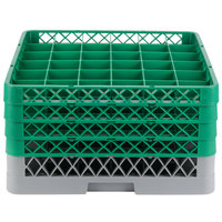 Noble Products 36-Compartment Gray Full-Size Glass Rack with 4 Green Extenders - 19 3/8 inch x 19 3/8 inch x 10 1/2 inch
