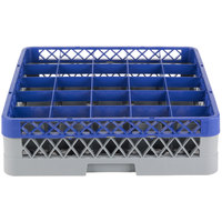 Noble Products 25-Compartment Gray Full-Size Glass Rack with Blue Extender - 19 3/8 inch x 19 3/8 inch x 5 3/4 inch