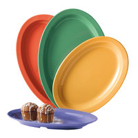 GET OP-612-MIX Creative Table 11 3/4 inch x 8 1/4 inch Oval Platter, Assorted Colors - 24/Case