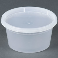 12 oz. Microwavable Translucent Plastic Deli Container with Lid - 240 / Case
