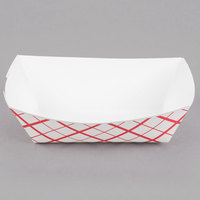 Southern Champion 413 #100 1 lb. Red Check Paper Food Tray - 250/Pack