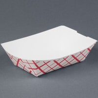 1 lb. Red Check Paper Food Tray 250 / Pack