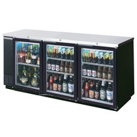 Beverage Air BB78G-1-B-PT-LED 79 inch Black Pass-Through Back Bar Refrigerator with Glass Doors - 115V