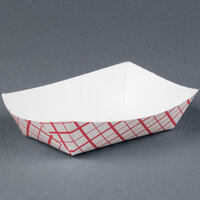 1/4 lb. Red Check Paper Food Tray 250 / Pack