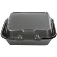Genpak SN243-BK 8 inch x 8 inch x 3 inch Black Foam 3 Compartment Hinged Lid Container 200 / Case