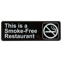 9 inch x 3 inch Black and White This Is A Smoke-Free Restaurant Sign