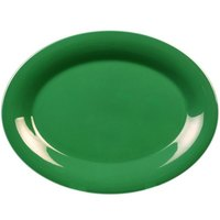 13 1/2 inch x 10 1/2 inch Oval Green Platter - 12/Pack