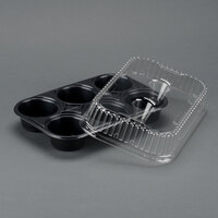 Genpak 55306 Bake N' Show Dual Ovenable 6 Cup Muffin Pan with Lid - 10 / Pack