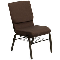 Dark Brown 18 1/2 inch Wide Church Chair with Communion Cup Book Rack - Gold Vein Frame