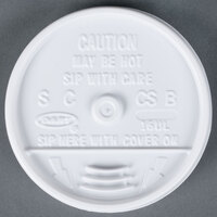 Dart Solo 16UL White Plastic Sip Thru Lid - 1000/Case
