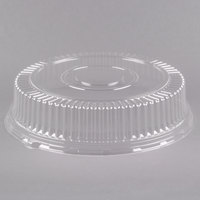 Visions 18 inch Clear PET Plastic Round Catering Tray High Dome Lid - 5/Pack