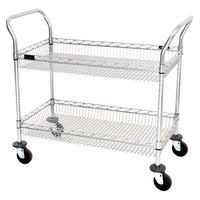 Eagle Group WBC1836C-2B 18 inch x 36 inch Two Shelf Chrome Utility Cart with Wire Basket Shelves