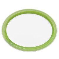 CAC R-13NR-G Rainbow 11 1/2 inch x 9 inch Green Narrow Rim Platter - 12/Case