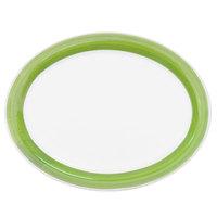 CAC R-12NR-G Rainbow 9 1/2 inch x 7 1/4 inch Green Narrow Rim Platter - 24/Case
