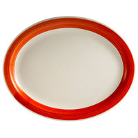 CAC R-14NR-R Rainbow 13 1/2 inch x 10 1/8 inch Red Narrow Rim Platter - 12 / Case