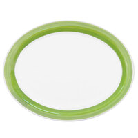 CAC R-51-G Rainbow 15 1/2 inch x 10 inch Green Rolled Edge Platter - 12/Case