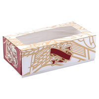 12 inch x 7 inch x 3 3/4 inch White Window Cake / Bakery Box with Red and Gold Bakery Design - 100 / Bundle