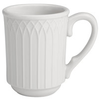 Homer Laughlin 10056900 Kensington 7 oz. Bright White Stackable Mug - 36/Case
