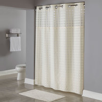 Hookless Beige Shimmy Square Shower Curtain with Chrome Raised Flex-On Rings, It's A Snap! Polyester Liner with Magnets, and Poly-Voile Translucent Window - 71 inch x 77 inch