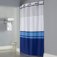 Hookless Blue Print Brooks Shower Curtain with Matching Flat Flex-On Rings, It's A Snap! Polyester Liner with Magnets, and Poly-Voile Translucent Window - 71 inch x 77 inch
