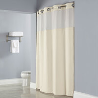 Hookless Beige Deliah Shower Curtain with Chrome Raised Flex-On Rings, It's A Snap! Polyester Liner with Magnets, and Poly-Voile Translucent Window - 71 inch x 77 inch