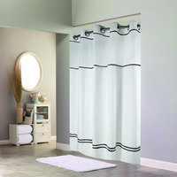 Hookless White with Black Stripe Escape Shower Curtain with Chrome Raised Flex-On Rings, It's A Snap! Polyester Liner with Magnets, and Poly-Voile Translucent Window - 71 inch x 74 inch
