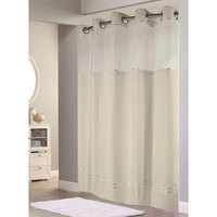 Hookless Beige Mystery Shower Curtain with Matching Flat Flex-On Rings, Weighted Corner Magnets, and Poly-Voile Translucent Window - 71 inch x 74 inch