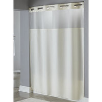 Hookless Beige Mystery Shower Curtain with Matching Flat Flex-On Rings, Weighted Corner Magnets, and Poly-Voile Translucent Window - 71 inch x 77 inch
