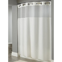 Hookless White Illusion Shower Curtain with Chrome Raised Flex-On Rings, It's A Snap! Polyester Liner with Magnets, and Poly-Voile Translucent Window - 71 inch x 77 inch